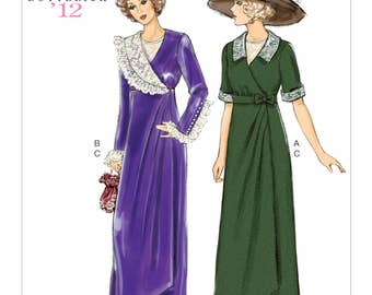6093, Butterick, Edwardian Dress, Downtown Abby, Retro 1912, Circa 1912, Turn of the Century, 1912 reprint, Edwardian Wrap Dress,