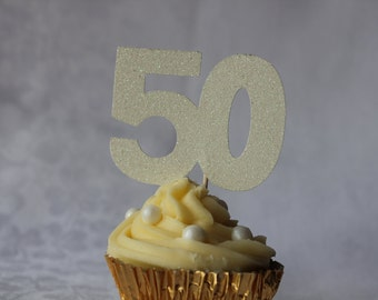 50th Birthday Glitter Cupcake Topper, Set of 12, Various Colours Available