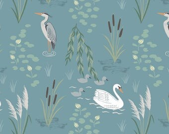 Down by the River A220.2 Swan and Heron on Teal Lewis & Irene Patchwork Quilting Dressmaking Fabric