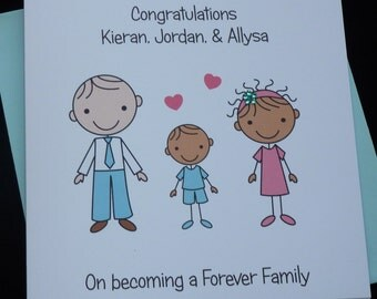 Personalised Handmade Adoption / Forever Family Congratulations Card- Any family Group / Mixed race