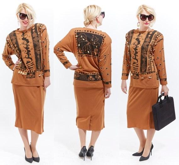 Vtg 80s Rare BONNIE BOERER Two Piece SET Secretary Dress Suit Avant Garde Studded Geometric Tribal Print Pencil Skirt Tunic Top Boho Retro