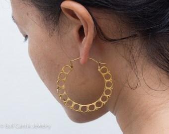 Rika Brass Earrings, Tribal Brass Earrings, Large Hoop Earrings.