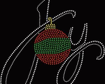 Christmas Ornament Joy Rhinestone Iron On Transfer Hotfix Bling
