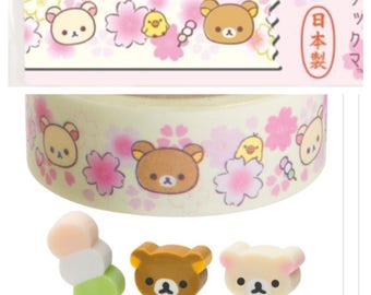 Rilakkuma Bear Sakura Washi Tape - San-X Paper Masking Tape 15mm ×15m