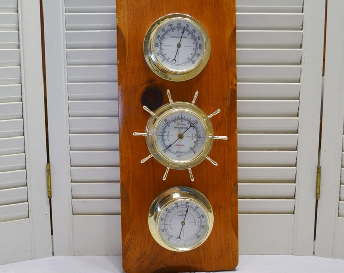 Vintage Barometer Thermometer Weather Station Wood Brass Tone Plastic Ship Wheel Rustic Home Decor PanchosPorch