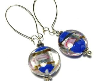 Long Silver Blue & Pink Glass Bead Earrings - Very Long Kidney Wires (ET18-7)