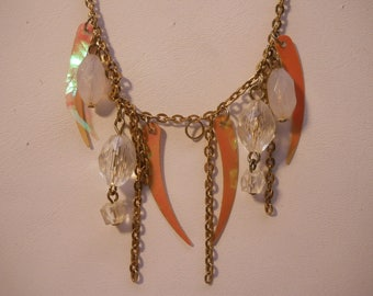 Gold Choker with Crystals Fashion Necklace, Vintage
