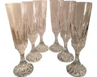 Signed Baccarat Crystal Champagne Flutes - Set of 6