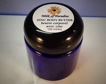 Zinc Body Butter - Eczema relief butter - psoriasis, itch, healing - glass packaging
