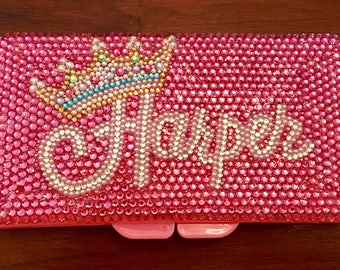Stunning travel rhinestone diaper wipes case with rhinestones
