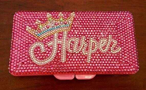 Stunning travel rhinestone diaper wipes case with rhinestones