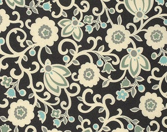 Denyse Schmidt fabric New Bedford Tapestry Floral DS96 Sea black blue white green craft sew quilt apparel freespirit fabric by the yard