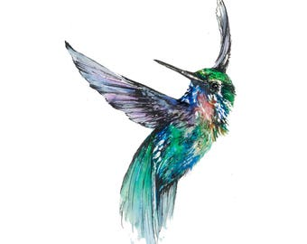 Print of original watercolour hummingbird painting.