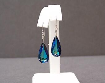 Bermuda Blue Crystal Earrings with Swarovski Teardrop Crystals - Great Gift for Wife
