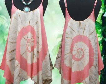 Tropical Light Pink Spiral Hand dyed Wearable Art Spaghetti Strap Tank Top