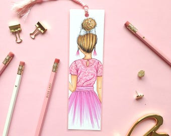 Cute illustrated bookmark, Book marker, Chic bookmark, Girly bookmarks, Book accessories, Paper bookmark, Fashion bookmarks, Book lover gift