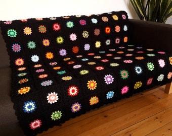 Crochet Blanket Granny Square Blanket Crochet Afghan Blanket Colorful Throw Blanket Boho Blanket