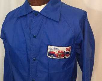 Vintage Richard Petty The King 43 Frito Lay Blue Nylon Windbreaker Jacket Snap Front Medium M 80s Eighties NASCAR Made in USA