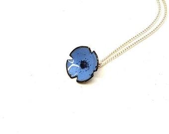 Blue Enamel Flower Pendant