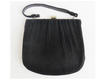 Black velvet handbag | Etsy