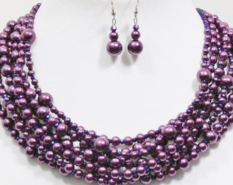 Purple statement necklace, multi strand, pearl and crystal, beaded, handmade by Casual Bling