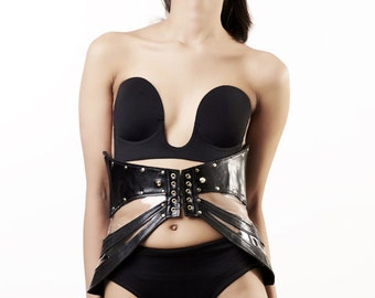 Black leather corset belt, PVC corset belt, leather underbust corset, BDSM corset, PVC and Leather studded waist cincher belt