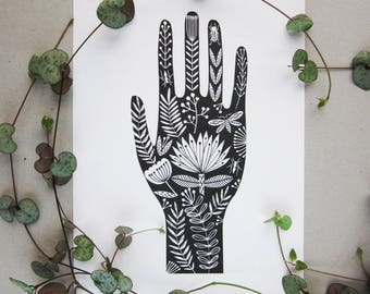 Tattoo hand folk art illustration A5 print
