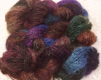 Hand dyed silk and kid mohair sparkle sport 100 yds pheasant scarf shawl knitting altered art quilting mixed media