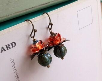 Rustic Czech glass earrings boho Dangling earrings Rose gold accents Petite earrings