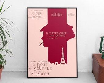 Breathless, Jean-Luc Godard movie fine art print, nouvelle vague, affiche, À bout de souffle, fino all'ultimo respiro, giclée, french film