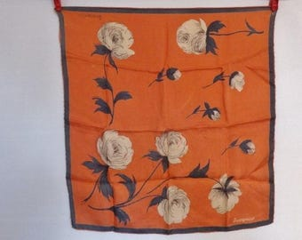 """Vintage Silk hand rolled Jacqmar of London Scarf Floral Flowers 50cm x 59cm / 19.6"""" x 18.5"""""""