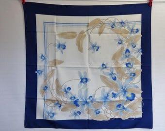 "Vintage Scarf Blue Iris Floral  Scarf 75cm x 77cm / 29.5"" x 30.3"""