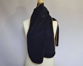 "Vintage Dark Blue scarf with gold coloured edge 36cm x 126cm 14.1"" x 49.6"""