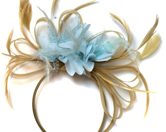 Champagne Gold Beige Camel and Pale Light Baby Blue Fascinator on Headband Alice Band UK Wedding Ascot Races Derby