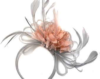 Silver Grey and Blush Pink Peach Salmon Fascinator on Headband Alice Band UK Wedding Ascot Races Derby