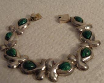"Sterling Silver and Malachite Vintage Bracelet - 7 1/4"""