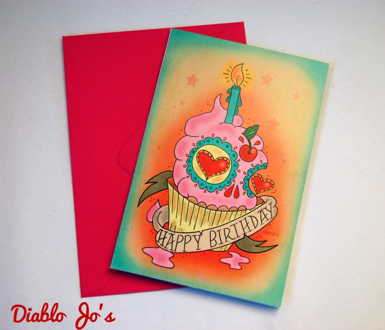 Sugar skull Cupcake Birthday card with tattoo scroll Mexican