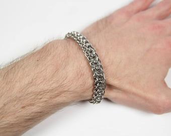 Flat Full Persian 5 in 1 Bracelet, Chainmaille Bracelet, Stainless Steel, Chainmail Bracelet, Chain Maille, Mens Bracelet, Mens Jewelry