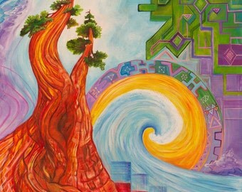 California Love - Redwood - Painting -Trippy - Landscape- Psychedelic- Original- Artwork - Bright- Surreal - Tree - Sunshine - Wave