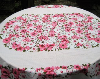 Pink floral tablecloth, vintage mid century rectangle tablecloth, roses, daises, shabby cottage chic decor, 62 x 74 inches
