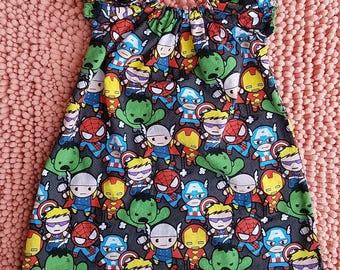 Avengers baby toddler girl superhero peasant dress, avenger kids girls dress, superhero avengers dress, avengers baby toddler kids outfit