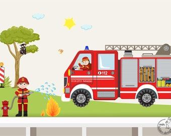 "Wall decal ""firefighter set"" fire department customizable wall sticker for boys"