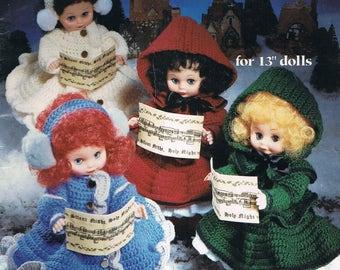 "Crochet Doll Pattern - Christmas Caroler Dolls - 13"" Tall Crochet Doll - Vintage Doll Crochet -  American School Of Needlework #1086"