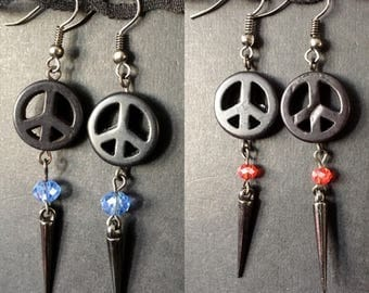 Peace Earrings, Protest Jewelry, World Peace, CND Earrings, Protest Earrings, Peace Symbol Earrings, Gothic Earrings, Punk Jewelry, Everyday