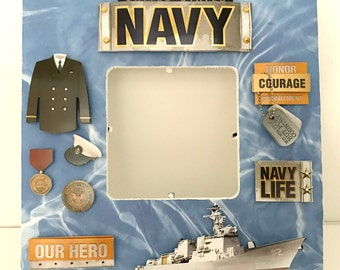 Navy/United States Military ArmedForces / Memorial Picture Frame