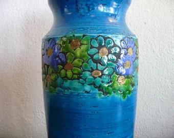 Bitossi Ceramic Vase w/ Flowers Mid Century Modern Rosenthal Netter Pottery
