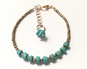 Priya Bracelet — Vintage turquoise rondelles, antique brass beads, stacking, layering, petite, nashville, boho, gypsy, western, festival