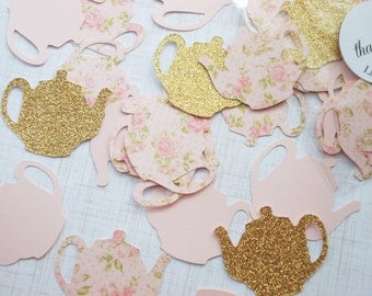 Tea Party Decoration, Glitter Gold & Blush Pink Floral Teapot Confetti, Table Confetti 70 CT, Ships in 2-3 Business Days