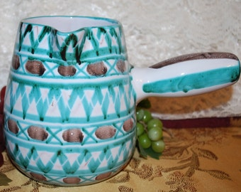 """R P France 5-3/4"""" Turquoise/Brown Patterned Spouted Handled Pitcher/Tureen"""