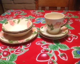 Vintage Franciscan Desert Rose salad plate, 2 small bowls, cup, and 2 saucers